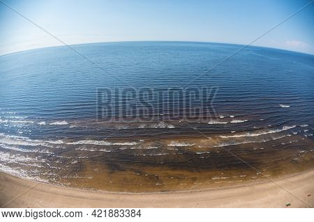 Estonia, Narva Jõesuu,\rmay 26, 2021 Coast Of The Gulf Of Finland, Sandy Coast\r  Summer Day, Drone