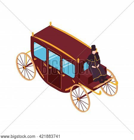 Victorian Era Isometric Icon With Carriage And Coachman 3d Vector Illustration