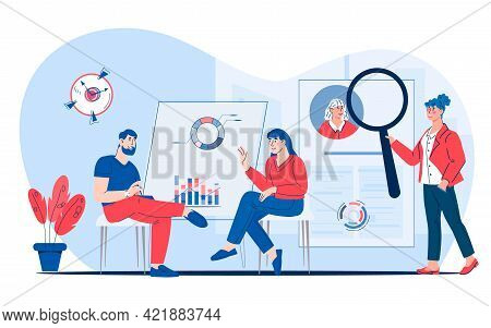 Hr Human Resources Department Work. Hr Managers Looking For New Job Candidate And Interviewing Vacan