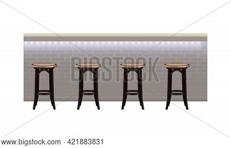 Modern Bar Counter With Light And Stools On White Background Vector Illustration