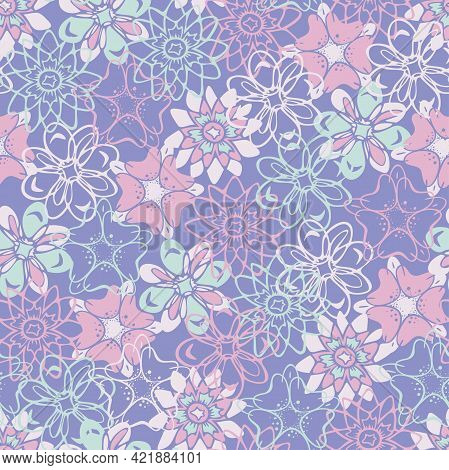Vector Seamless Pattern With Different Decorative Flowers. Fancy Textile Design.