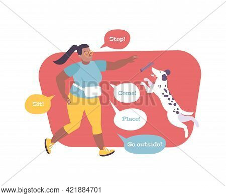 Flat Composition With Woman Training Dog And Various Commands In Speech Bubbles Vector Illustration