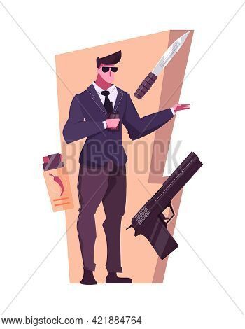 Security Service Flat Composition With Bodyguard And Weapons Vector Illustration