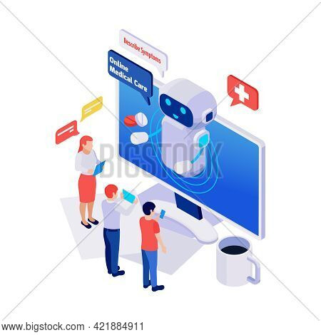 Isometric Icon With Online Medical Care Service Chatbot Talking To People 3d Vector Illustration