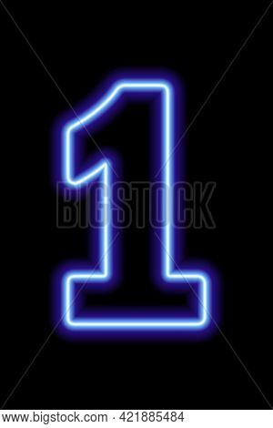 Neon Blue Number 1 On Black Background. Learning Numbers, Serial Number, Price, Place.