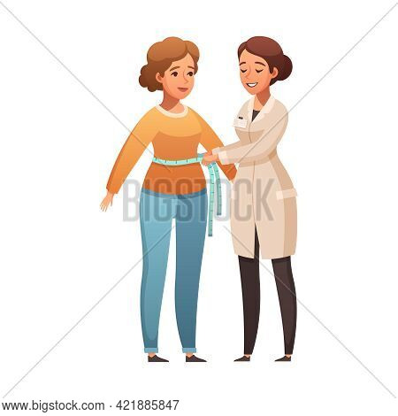 Smiling Dietician Measuring Woman Waist Cartoon Icon Vector Illustration