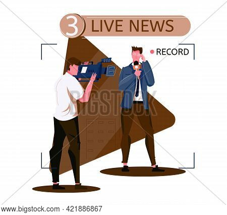 Live News Flat Composition With Cameraman And Anchor Vector Illustration