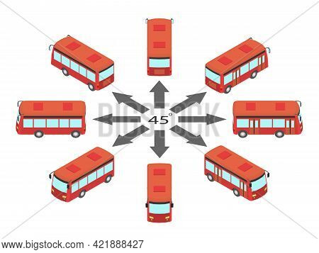 Rotation Of The Bus By 45 Degrees. Red Bus In Different Angles In Isometric.