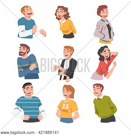 Happy People Having Fun Set, Portraits Of Laughing People With Joyful Face Expression Cartoon Vector