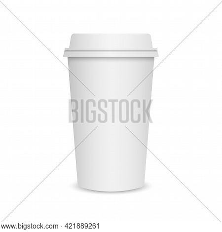 Coffee Cup Mockup. Paper Mug Template On White Background. Coffee To Go. Realistic Paper Cup With Pl