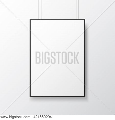 Poster Mockup Hanging On Light Wall. White Template With Frame. Isolated Picture Close Up. Empty Bla