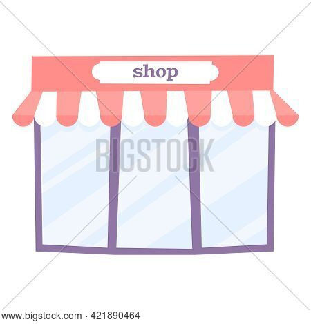 Big Shop Window Flat Icon On White Background Vector Illustration