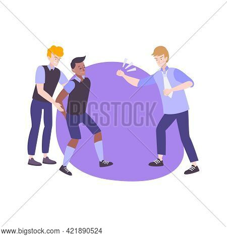 Physical Bullying Flat Icon With Boy Getting Bullied By Two Teens Vector Illustration