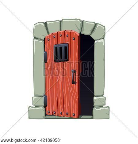 Open Wooden Dangeon Or Prison Door With Metal Bars Cartoon Vector Illustration