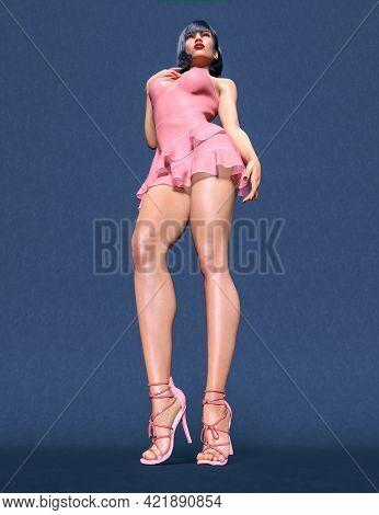 Beautiful Woman Short Transparent Evening Mini Dress.summer Clothes Collection.bright Makeup.woman S