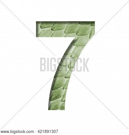 Snake Scales Font.the Digit Seven, 7 Cut Out Of Paper On The Background Of A Green Snake Skin With L