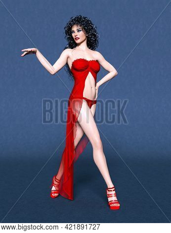 Beautiful Sexy Brunette Woman In Long Evening Red Open Dress.summer Clothes Collection.bright Makeup