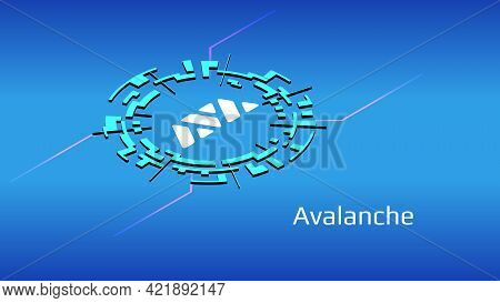 Avalanche Avax Isometric Token Symbol Of The Defi Project In Digital Circle On Blue Background. Cryp