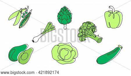 Green Line Vegetable. Continuous Monoline Healthy Food, Pepper Artichoke Peas Cabbage Avocado. Vecto