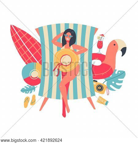 Young Woman In Bikini Sunbathing Lying On The Beach. View From Above. Isolated Summer Concept With S