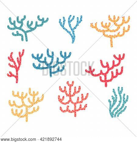 Set Of Different Color Cartoon Corals Isolated On White Background. Bundle Of Marine Species, Deep S