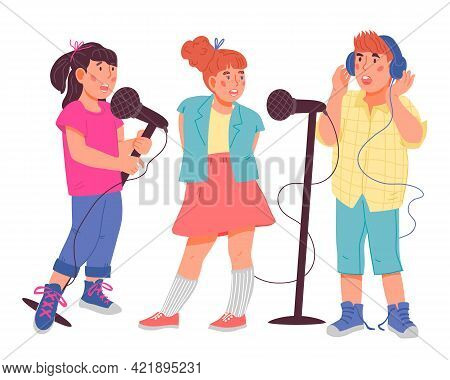 Children Trio Singing Together. Kids Cartoon Characters For Vocal Or Music Classes And Art School, M