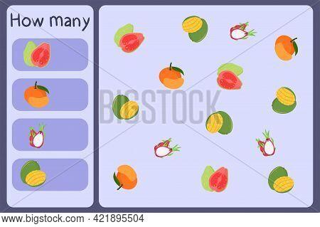 Kids Mathematical Mini Game - Count How Many Fruits - Guava, Tangerine, Dragon Fruit, Mango. Educati
