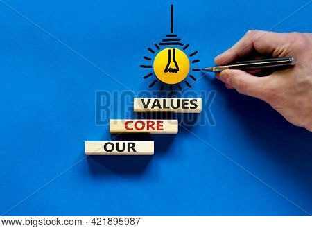 Our Core Values Symbol. Concept Words 'our Core Values' On Wooden Blocks On A Beautiful Blue Backgro
