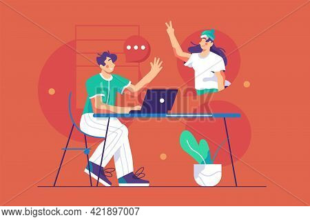 Guy Talk On Video Connection Through Laptop Vector Illustration. Meeting Online Via Teleconference O