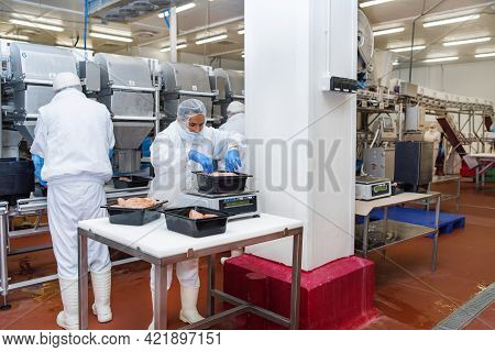 Group Of Workers Working At A Chicken Factory Food Processing Plant Concepts.chicken Fillet Producti