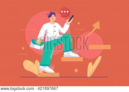 Man Ascending Steps To Successful Career Vector Illustration. Strategy To Reach Business Goal Or Car