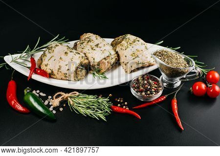 Meat For Grill And Barbecue.raw Chicken Thighs On Dark Background.raw Chicken Thighs In White Marina
