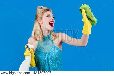Housekeeping, Cleanliness At Home, Service Concept. Happy Girl With Cleaning Rag And Detergent.