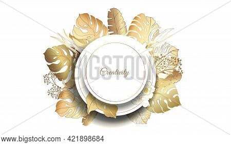Gold Frame. 3D Paper Cutout. Monstera Leaves And Flowers From Golden Threads. Original Frame With Su