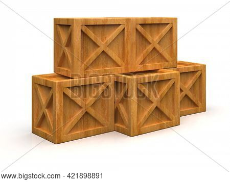 Pile of Stacked Sealed Goods Wooden Boxes,PalletCargo Cases IndustrialCrates or ContainerBoxes for Storage, Logistic Transportation and Delivery, Warehouse Concept, 3d Illustration