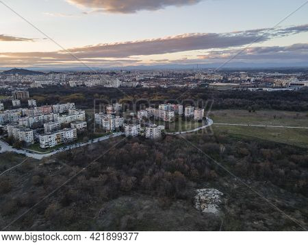 Aerial Sunset View Of Typical Residential Building From The Communist Period At District Trakia In C