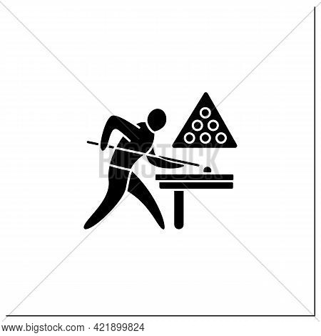 Snooker Glyph Icon. Cue Sport. Billiard Louse Game. Player Score All Balls With Cue At Hole.athletic