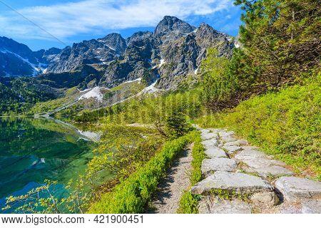 Path Along Beautiful Green Water Morskie Oko Lake, Tatra Mountains, Poland