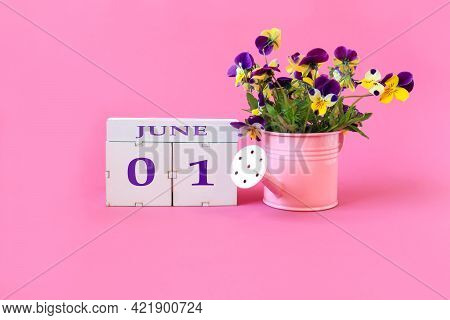 Calendar For June 1 : The Name Of The Month Of June In English, Cubes With The Numbers 0 And 1, A Bo