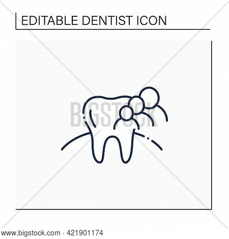 Family Dentistry Line Icon.focuses On Health, Oral Hygiene Of Teeth.common Treatments Include Cavity