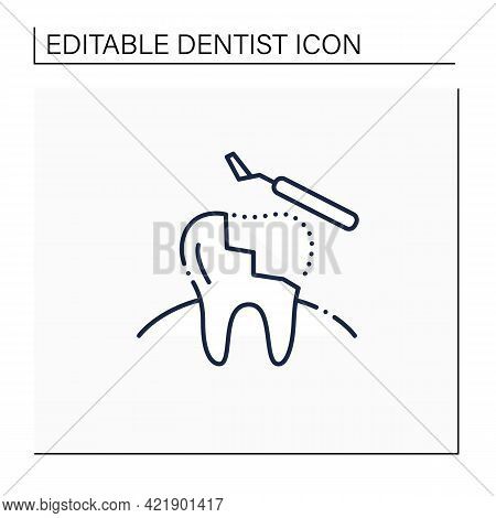 Restorative Dentistry Line Icon. Tooth Care Includes Dental Implants, Dental Bridges, Dental Bonding
