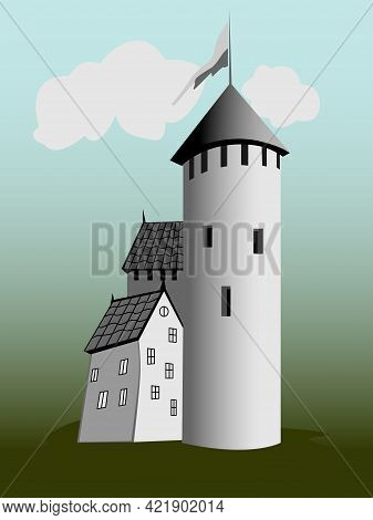 Old Tower And Adjacent Old Houses, Drawing For Illustrations Of Books, Magazines, Postcards, As Well