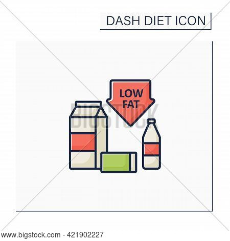 Low Fat Color Icon. Skim Or Fat-free Milk. Low-fat Varieties Of Yogurt, Cottage Cheese. Protein Sour