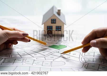 Land Development Map. Developer With Project Plot