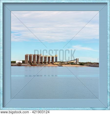 Industrial Wharf Of An Australian City's Harbor, Matted And Framed In Blue