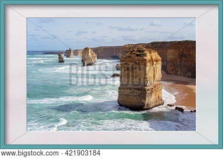 The Twelve Apostles On The Great Ocean Road In Victoria Australia - Famous Landmark. Presented In A