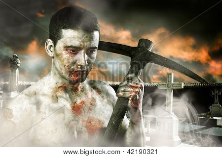 Male zombie in a cemetery, undertaker with pick axe, retro