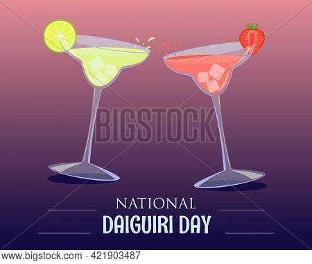 Two Different Daiquiri Alcoholic Cocktails In Cocktail Glasses With Strawberries And Lime. Vector De