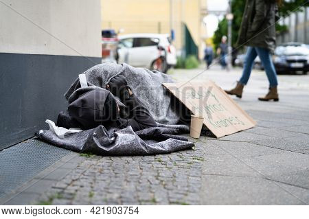 Begging Poor Man. Problems, Despair And Homelessness