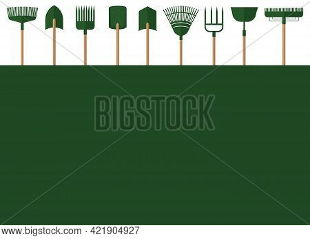 A Set Of Garden Tools From Several Shovels And Different Rakes